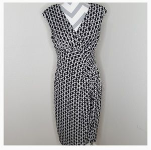 London Style Collection Faux Wrap Dress